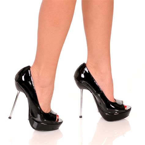 steel toe high heels 5 quot micro stiletto steel heel open toe ebay
