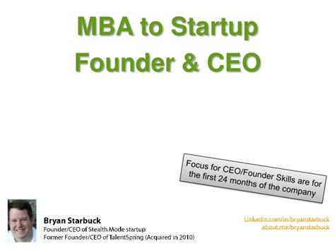 Mba Startup by Mbas Creating Their Startup Advice