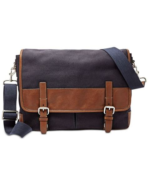 Fossil Perry East West Messenger Bag by Fossil Graham Canvas Messenger Bag In Gray For Grey