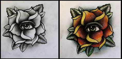 tattoo eye rose rose with eye tattoo design by thirteen7s on deviantart