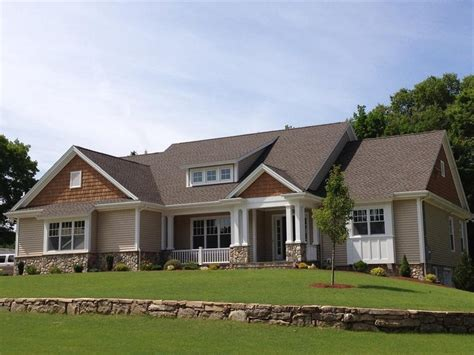 gaf timberline hd mission brown exterior farmhouse with