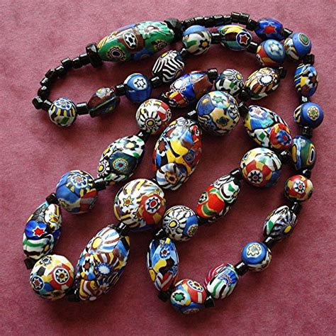 large glass bead necklace vintage antique millefiori graduated large centre glass