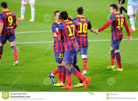 barcelona players f c barcelona players celebrate a goal at the c nou on