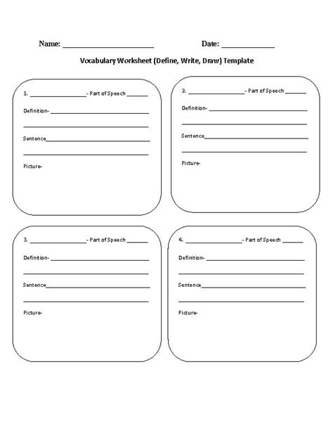 vocabulary worksheet template vocabulary worksheet define write draw template