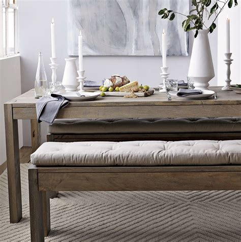dining table bench cushions beige tufted bench cushion with rustic wood rectangle table placed on grey carpet of the