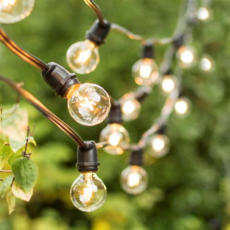 Commercial Globe String Lights 100 Foot Black Wire Clear Commercial Outdoor Globe String Lights