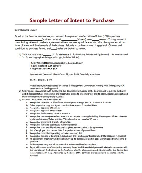 Letter Of Intent For Business Loan Purchase Agreement For Business Sle Letter Of Intent To Purchase Property Business Loan