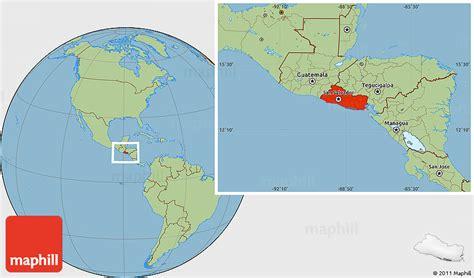where is el salvador on a world map savanna style location map of el salvador