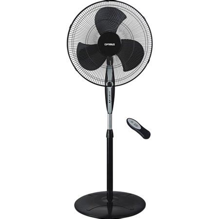 Miyako Stand Fan 18 Quot optimus 18 quot black oscillating stand fan with remote