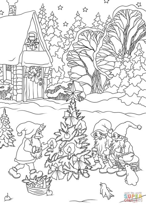 gnome coloring pages gnomes are decorating a tree coloring page