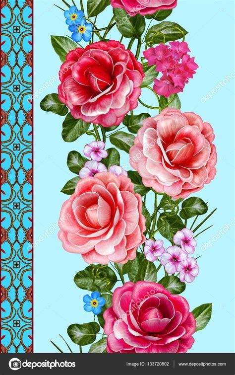 cenefa de flores cenefa floral vertical patr 243 n fisuras guirnalda de