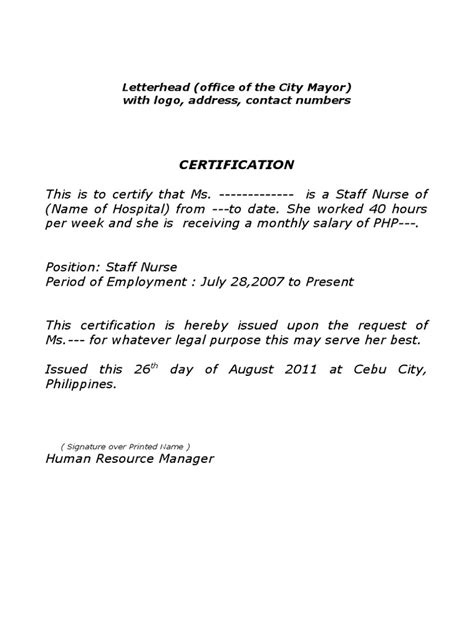 Sle Certificate Of Employment Certificate Of Employment Template