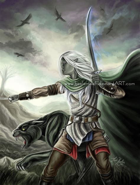 drizzt 016 hunters blades drizzt and guenhwyvar by keelerleah on