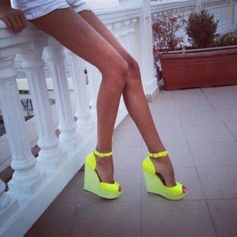 shoes neon wedges heels pumps sandals legs srap