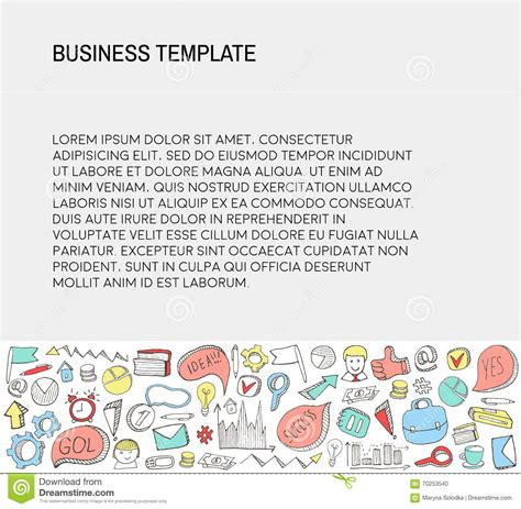 Sketch Business Card Template by Business Card Template With Business Doodles Icons Set