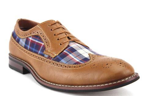 plaid oxford shoes mens ferro aldo wing tip plaid lace up oxford dress shoes