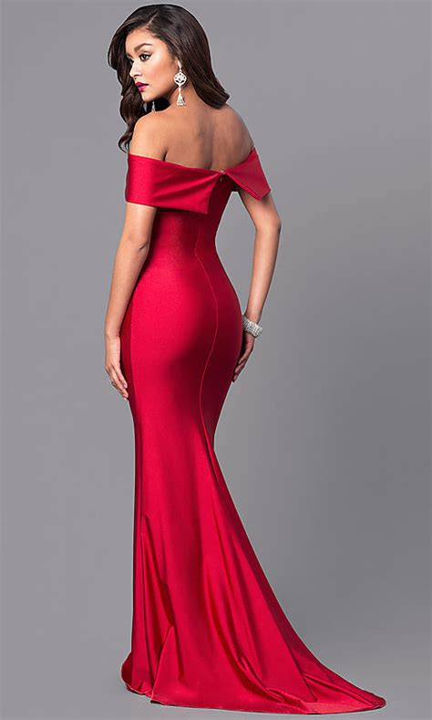 atria   shoulder long prom dress promgirl