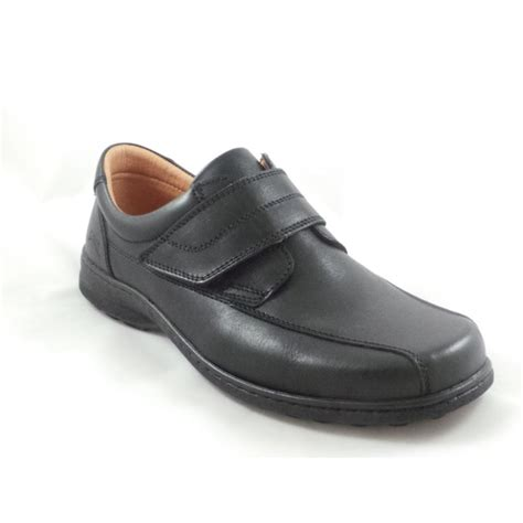 softwalk mens black leather slip on shoe with velcro