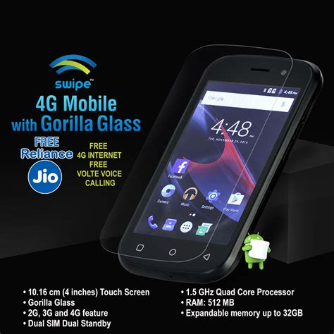 mobile phones with gorilla glass buy swipe 4g mobile with gorilla glass at best