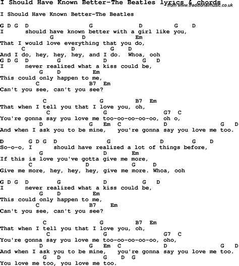 y lyrics song lyrics for i should known better the