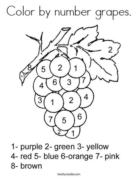 preschool grapes coloring page color by number grapes coloring page twisty noodle