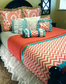 Coral Chevron Comforter Coral Chevron Custom Bedding For Your College Dorm Room