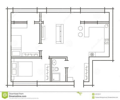 sketch plan for 2 bedroom house plan sketch of two bedroom apartment stock vector