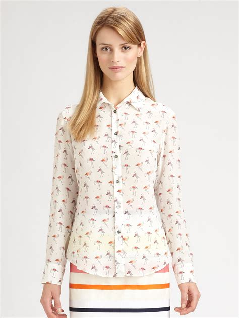Maxmara Flamingo lyst weekend by maxmara silk trau flamingo print blouse