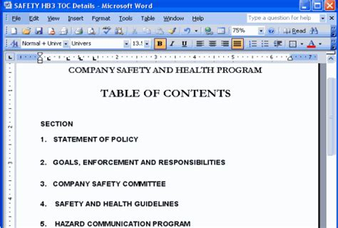 osha safety program template safety manual template copedia
