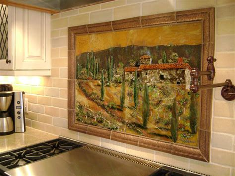 fused glass kitchen backsplash in tuscany theme designer