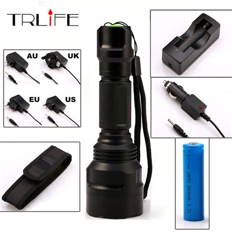 Senter Led Tactical Cree Xm L 8000 Lumens led cree c8 flashlight 8000 lumens torch xm l2 t6 tactical flashlight cing light l
