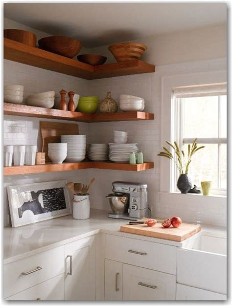 wood floating shelves white subway tile kitchen ideas