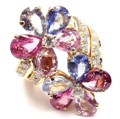Fancy Sapphire 1 bulgari fancy sapphire gold flower cocktail ring at 1stdibs