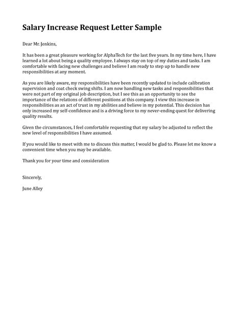 Raise Letter Template Sle Letter Requesting A Raise In Pay Sle Business Letter