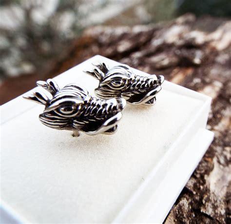 Handmade Stainless Steel Jewelry - earrings studs silver handmade serpent