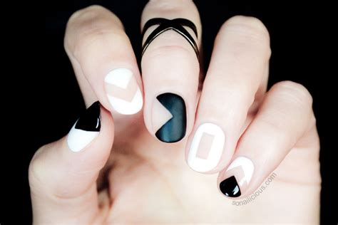 nail art negative space tutorial black and white negative space nails tutorial
