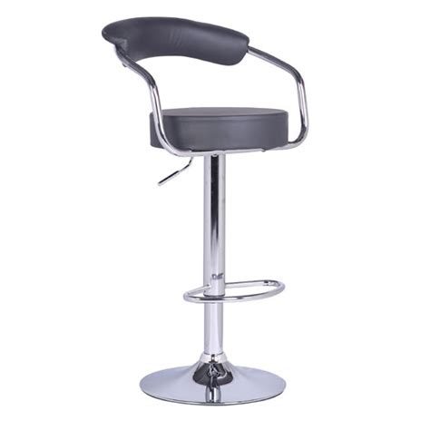 Zenith Bar Stool by Zenith Bar Stool In Charcoal Grey Faux Leather With Chrome