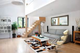 minimalist style living room and stairs design