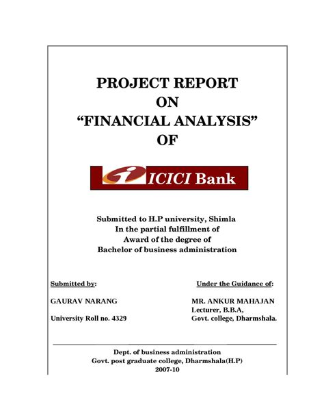 Mba Project Report On Merchant Banking by Project Report On Financial Analysis Of Icici Bank By