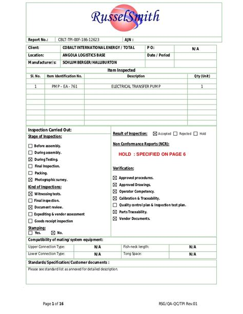 Tpi Exle Report Pressure Vessel Inspection Report Template