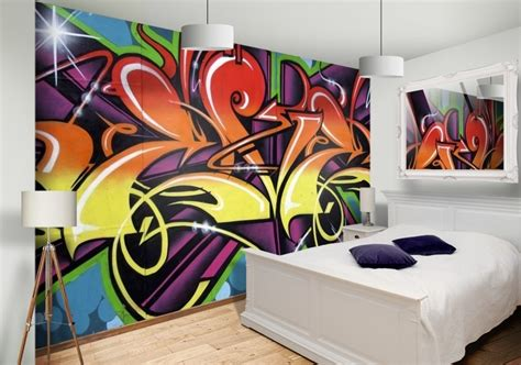 graffiti interiors home art murals and decor ideas graffiti wallpaper custom wallpaper mural print by jw