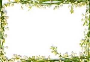 リアルな花のイラスト フリー素材 フレーム枠no 1371 スズラン 白 茎の窓