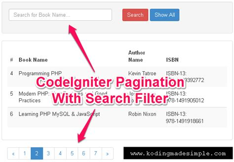 codeigniter simple query codeigniter pagination with search query filter exle