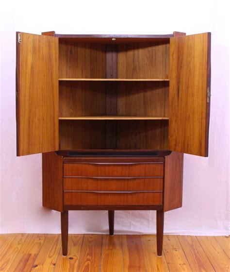 Mid Century Cupboard by Mid Century Modern Teak Corner Cabinet At 1stdibs