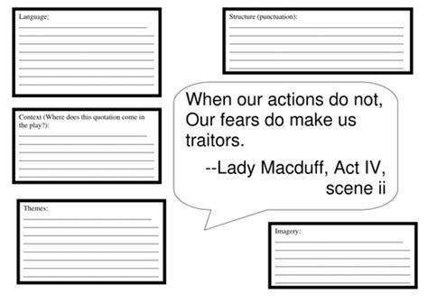 macbeth themes worksheet macbeth quotation analysis worksheet resource by