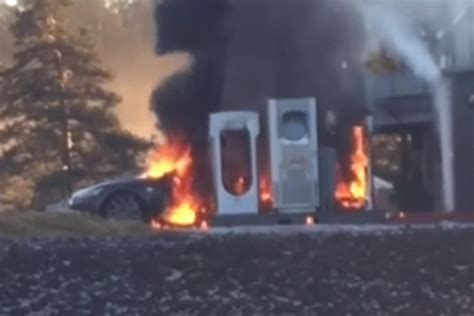 Tesla Model S Fires Tesla Model S Catches While At Charging Station