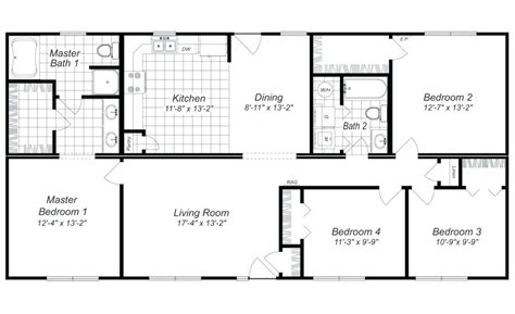 four bedroom floor plans size of house plans with