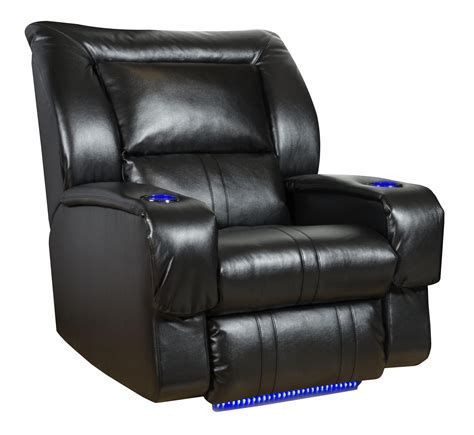 wall hugger recliner with led lights cup holders by
