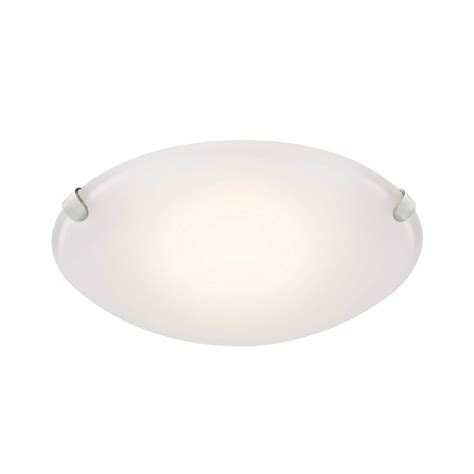 brushed nickel led flush mount with frosted glass shade