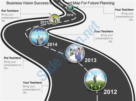 Wf Business Vision Success Growth Road Map For Future Planning Flat Powerpoint Design Vision Roadmap Template